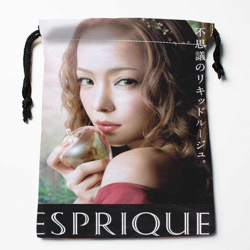 Custom Amuro Namie Printed Satin Storage Bag Drawstring Gift Bags More Size Storage Custom Your Image 27x35cm