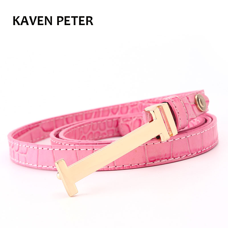 ladies Thin Leather Belt Fashion Women Crocodile Pattern Belt Gold Buckle Belt For Women Four Color High Quality Ceinture Femme