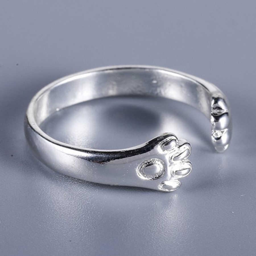 925 пробы серебро кошка собака Paw кольцо Регулируемый ручной работы милый перстни для девочек стерлингов Серебряные ювелирные изделия дружбы Bijoux