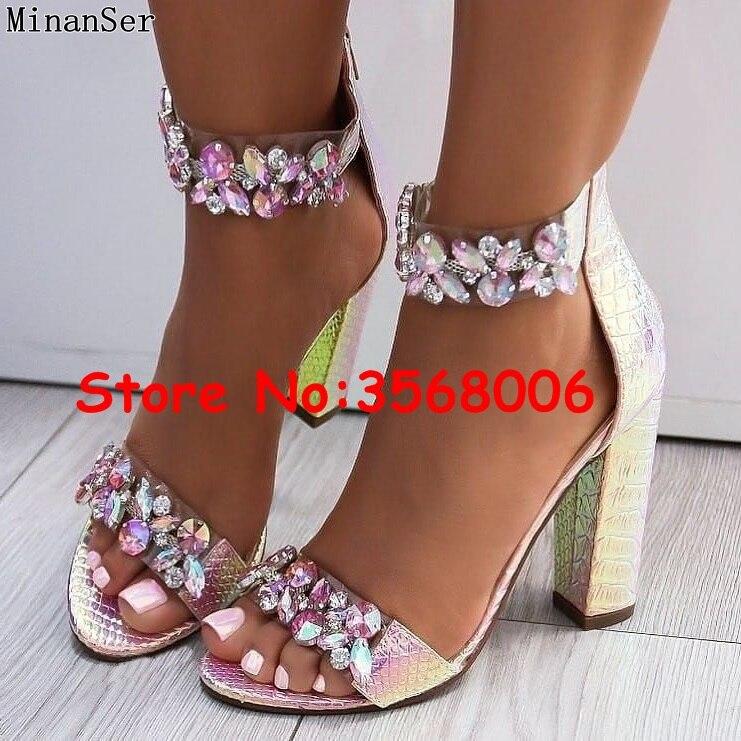 Cristal Emebllished Chunky tacones tobillo sandalias de PVC claro mujer calidad abierta del dedo del pie zapatos bombas zapatos de señora zapatos de tacón alto-in Sandalias de mujer from zapatos    1