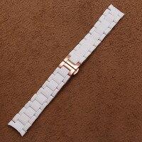 Nieuwe mode Wit Rubber wrap rvs Armband Rose Goud Metalen deployment Horlogeband polsband 20mm 23mm accessoires