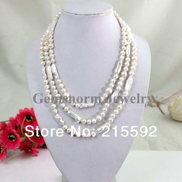New Top Design 3 Rows White Round Freshwater Pearl Necklace Different Sizes Perfect Match Gift Free Shipping Wholesale FP004