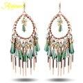 Ajojewel Brand Luxury Party Jewelry Women's Long SWA Element Austrian Crystal Tassel Drop Earrings Green