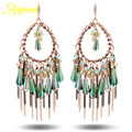 Ajojewel marca de luxo partido jóias das mulheres longa borla brincos swa elemento cristal austríaco verde
