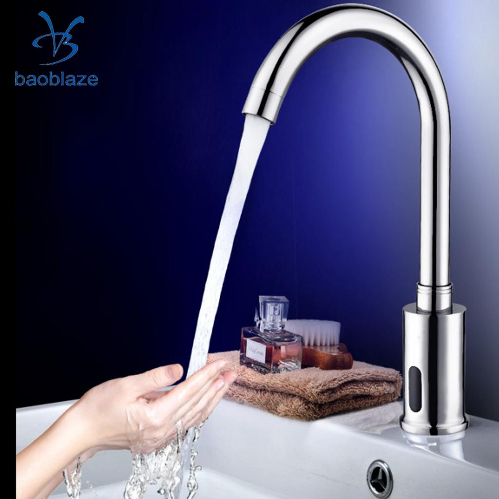 Automatic Infrared Sensor Faucet Single Cold Water Faucet Bathroom Basin Electrical Auto Sensor Faucet Deck Mounted