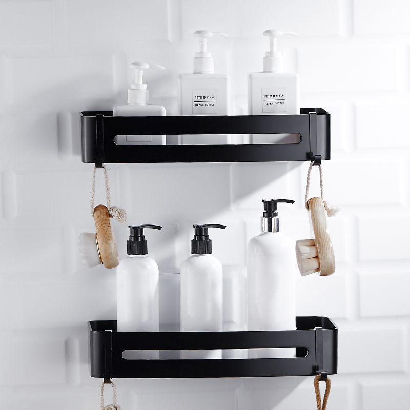 1/2/3 Layer Antique Space Aluminum Corner Shelf Shower Shampoo Soap Cosmetic Shelves Shower Caddy Basket Black Bathroom Shelf