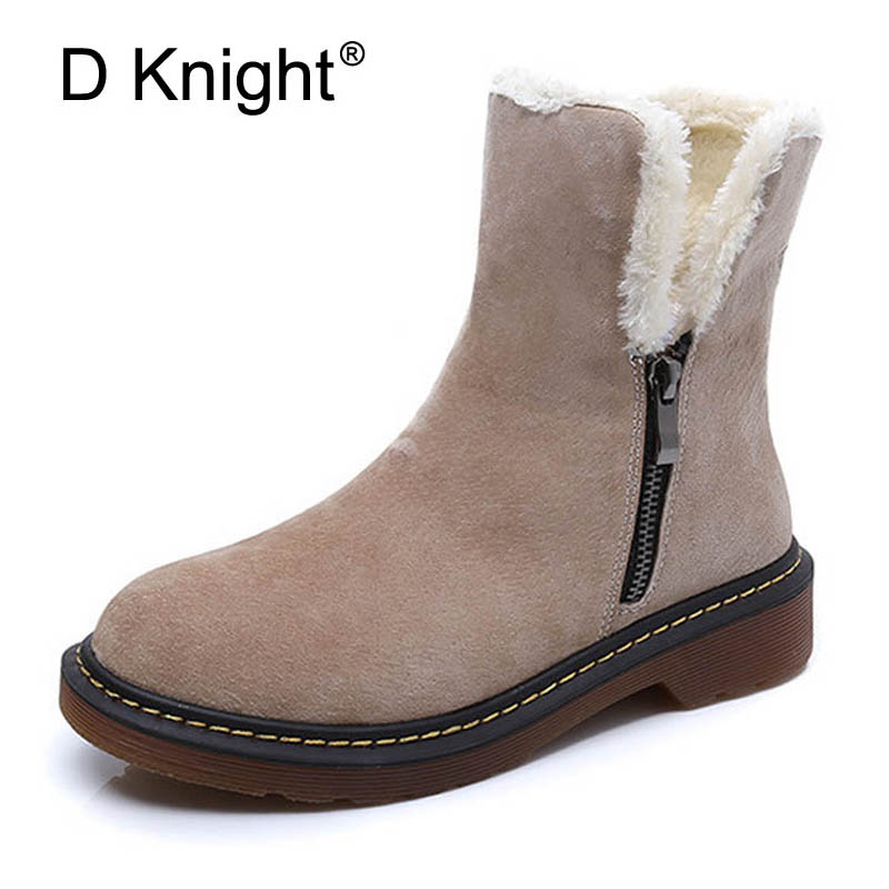New De La Chance Women Boots 2017 New Fashion Leather Winter Boots For Women Casual Shoes Warm Wedge ...