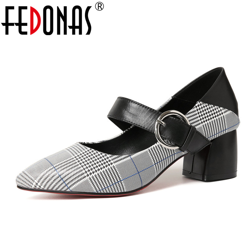 FEDONAS 2018 Woman Genuine Leather Shoes Sexy Pointed Toe High Heels Spring Autumn Pumps Retro Mary Jane Party Shoes Woman цена