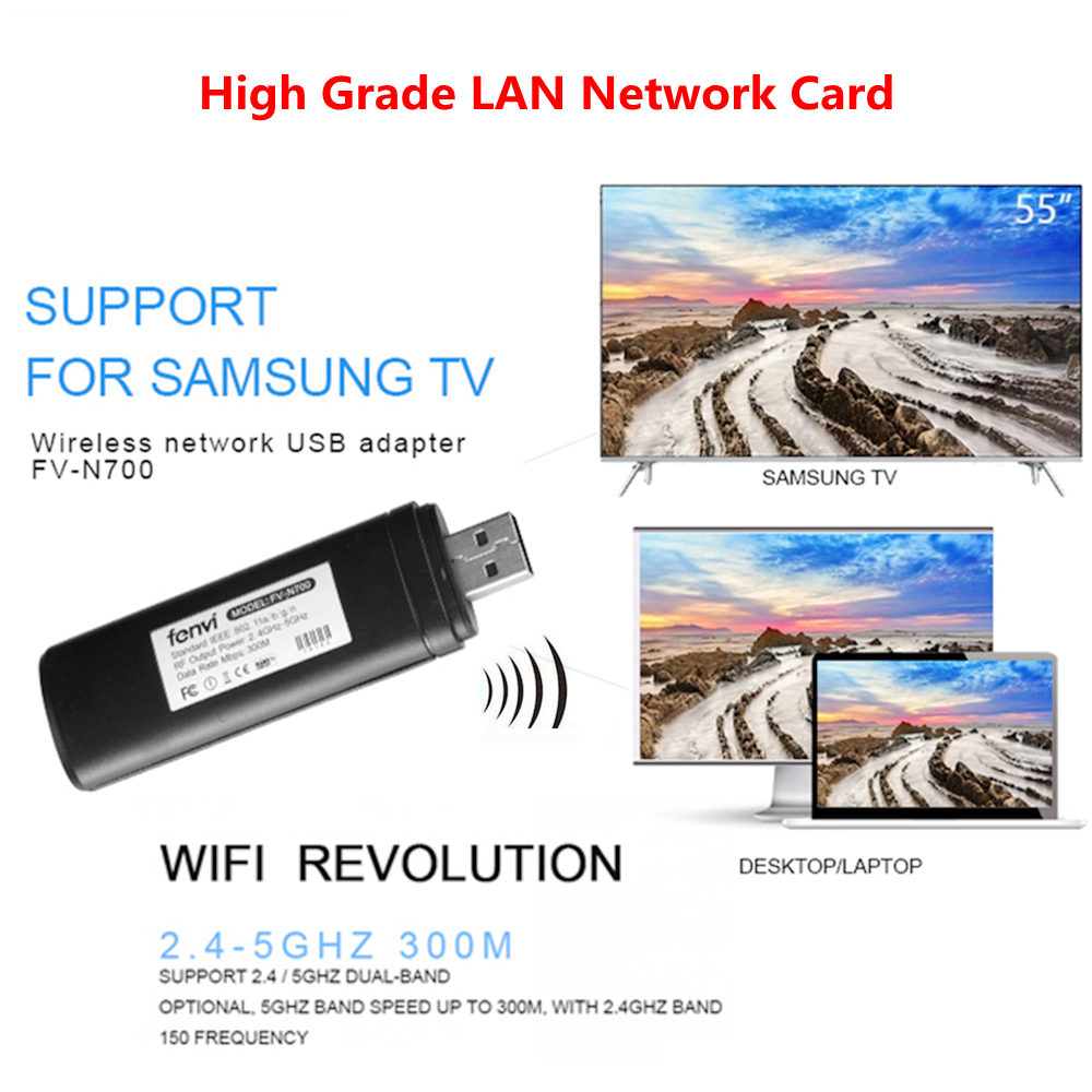 FV-N700 WLAN inalámbrica LAN adaptador de red USB 2,0 tarjeta de TV 5g 300 Mbps Wifi Dongle para Samsung Smart TV WIS12ABGNX WIS09ABGN WIS12