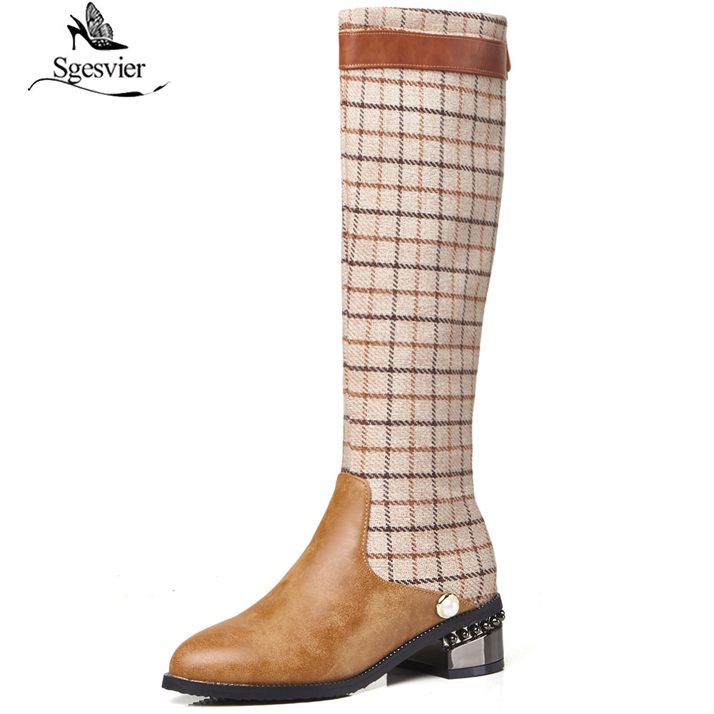 premium selection 9367a 1537c Sgesvier 2018 Winter Gothic Plaid Brown Black Boots Mid Calf High Pointed  Toe Medium Block Heel Shoes Long Knight Womens Boots