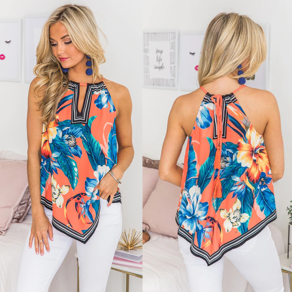 Sexy Spaghetti Strap Flower 3D Print Summer Bloues Clothes 2019 Boho Loose Womens Tops And Blouses Off Shoulder Top Shirts