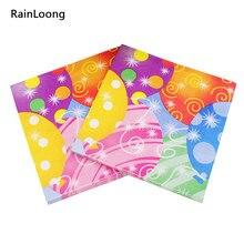 [Rainloong] feliz aniversário guardanapo de papel festivo & para festas decoração de tecido guardanapo servilleta 33*33cm 1 pacote