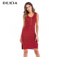 DEXIA New Autumn Beading Sweater Dress Sleeveless High Quality Red High Waist Solid Spring Round Neck A Line Dress Vadim 5816