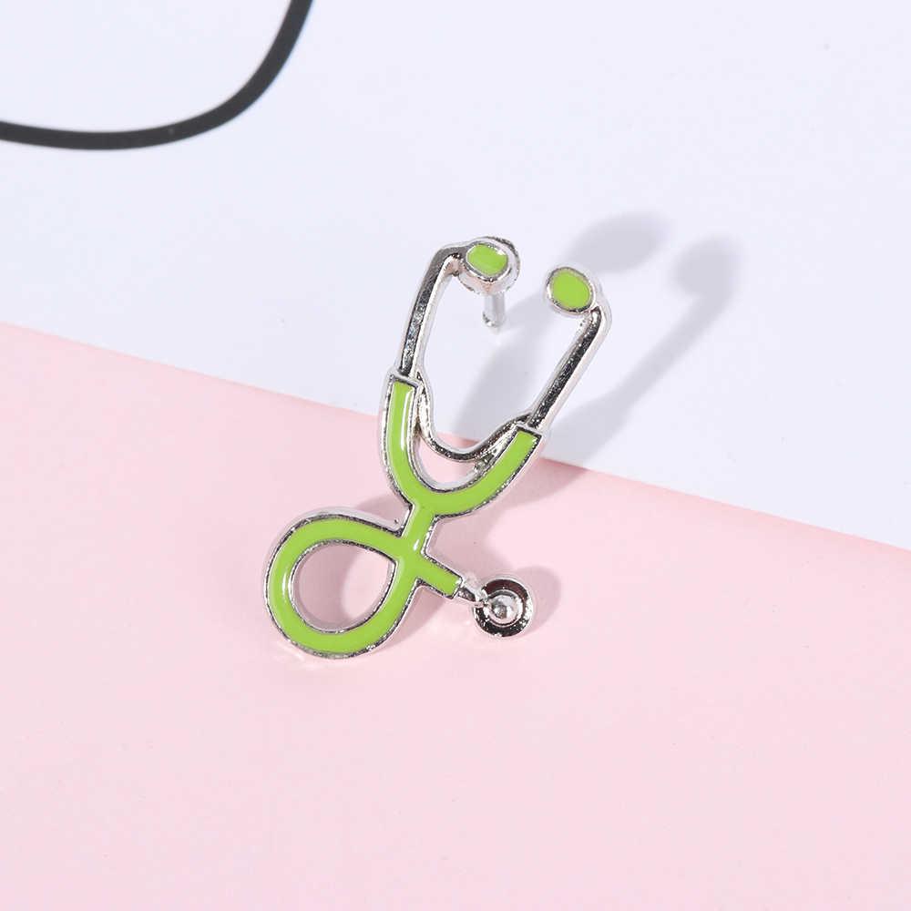 Tıbbi erkekler kadınlar emaye stetoskop doktor hemşire broş Pin ceket yaka rozetleri tıbbi takı broş Pin Denim ceket yaka