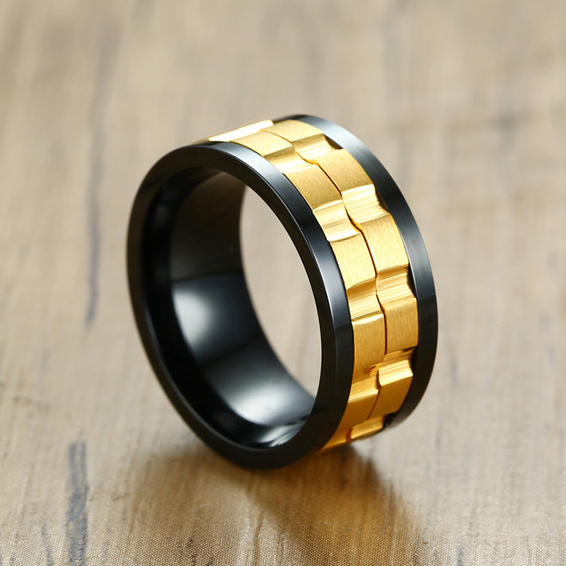 Image 5 - ZORCVENS 2020 New Fashion 9mm Gold Black Rotatable Stainless Steel Wedding Rings for ManRings   -