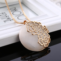 C979 New Rose Flower Long Sweater Chain Clothes Accessories Alloy Opal Pendant Necklace For women Jewelry