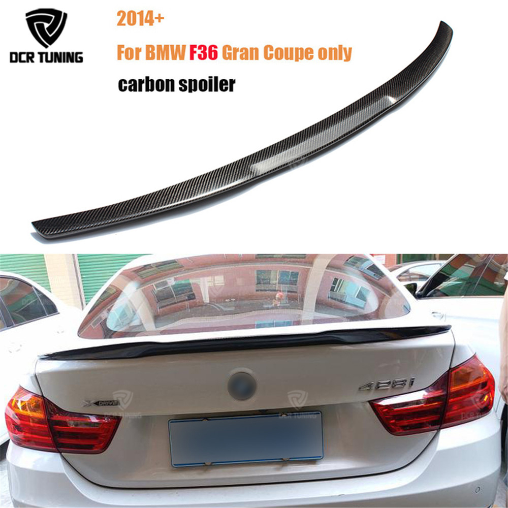 For BMW F36 Carbon Rear Spoiler M4 Style 4 Series 4 Door Gran Coupe Carbon Spoiler 2014 2015 2016 - UP 420i 420d 428i 435i p style for bmw f32 spoiler carbon fiber material 4 series coupe f32 carbon spoiler 2 door carbon wings 2014 2015 2016 up