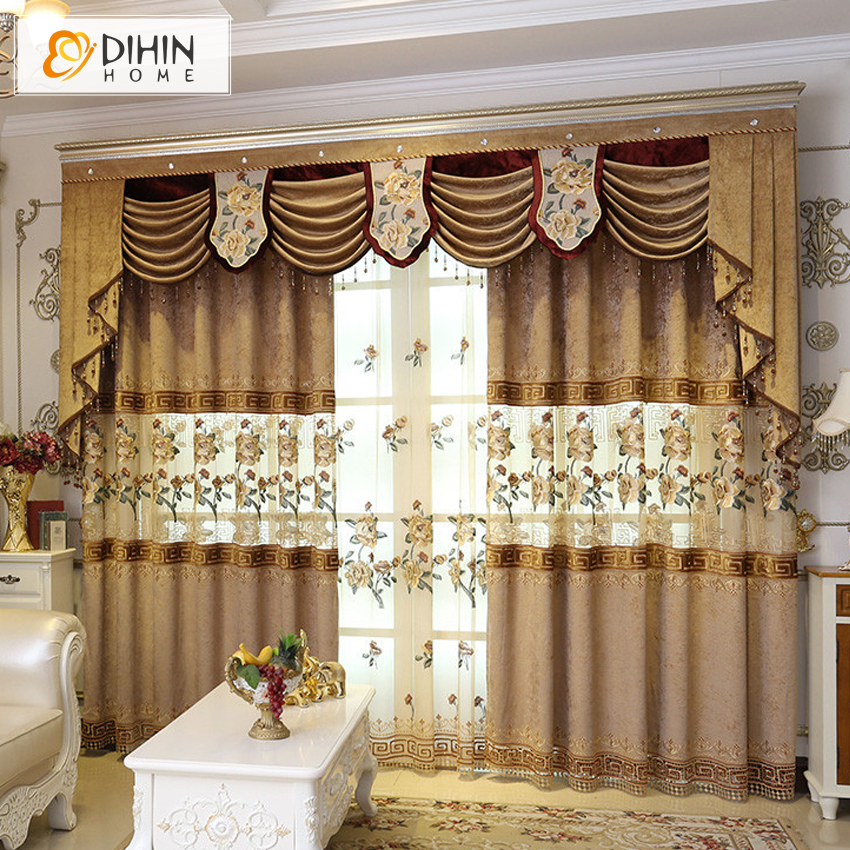 DIHIN Embroidered Luxury Curtain Jacquard Blinds Curtains For Living Room  Window Shading Valance Voile Curtains Drapes