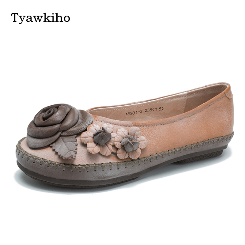 Tyawkiho 2018 Spring Women Flats Genuine Leather Women Pink Flower Loafers Retro Handmade Women Leather Shoes Slip On Moccasins