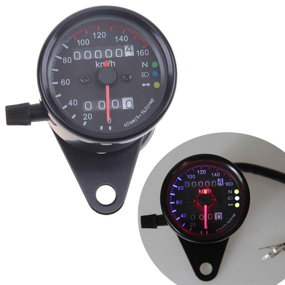 Vintage Black Universal Motorcycle 3 LED Backlight Signal Light Dual Odometer Speedometer Gauge Motocross