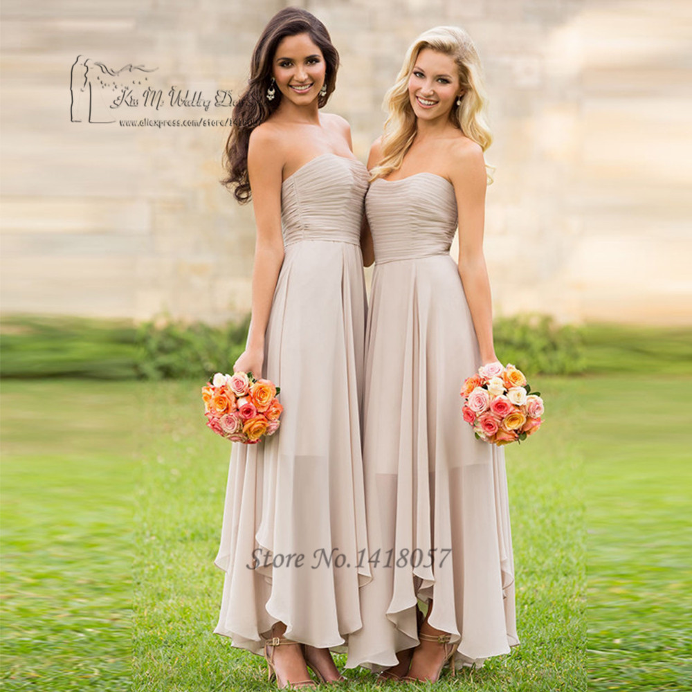 Cheap Champagne   Bridesmaid     Dresses   Long Pleated Tea Length Wedding Party   Dress   Spring Romantic Strapless 2017 Vestido Longo