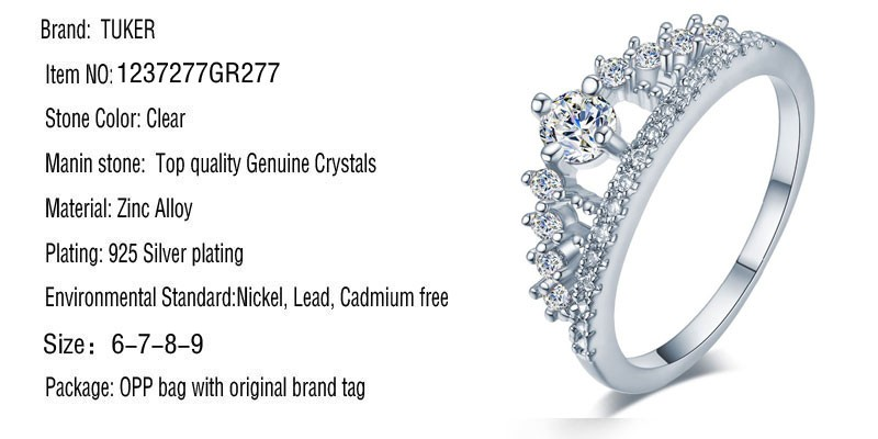 Engagement Party Ring New Fashion Crystal Rhinestone Crown Rings For Women Party Cute Elegant Luxury Sliver Plated Rings 1
