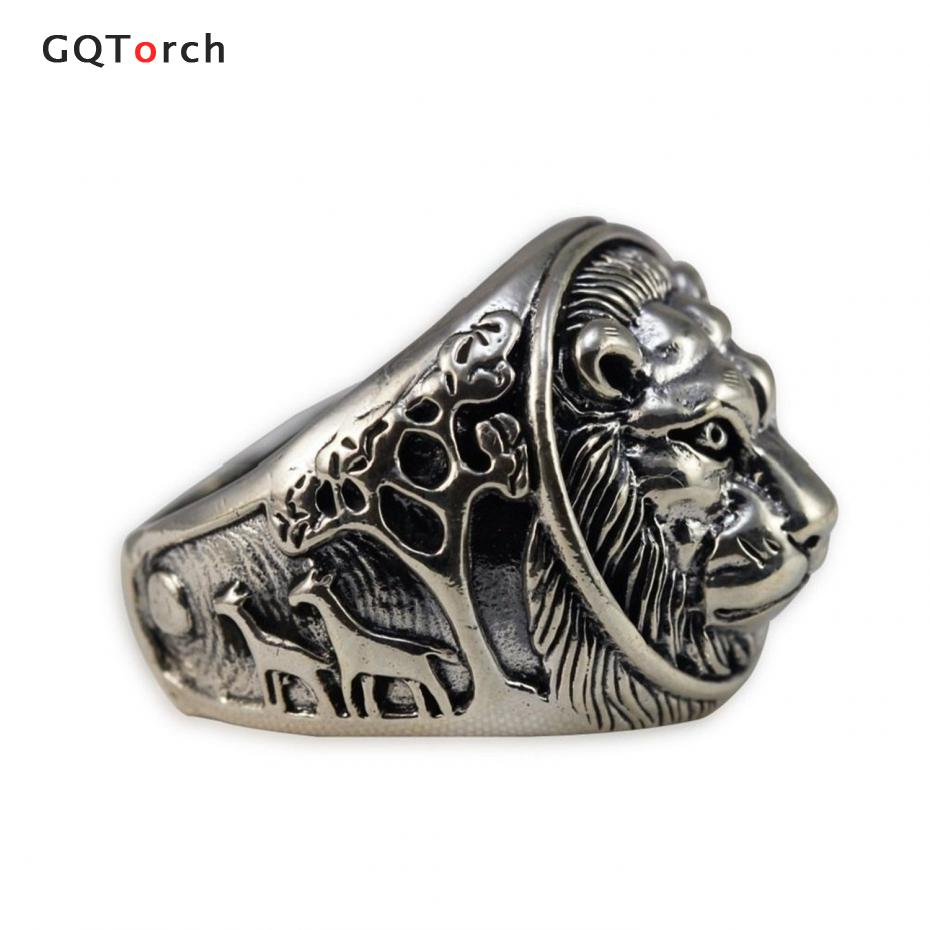 Solid 925 Sterling Silver Mens Lion Ring Vintage Punk Rings For Men punk style solid color hollow out ring for women