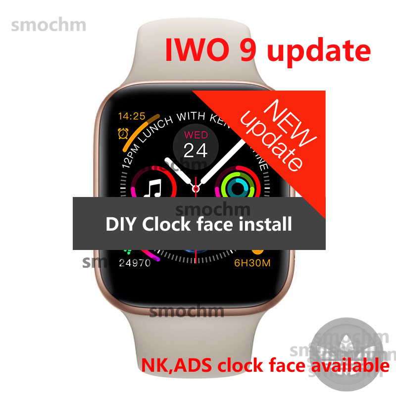 Smochm IWO 9 Heart Rate Wireless Charger MTK2502C Red Round Button Smart Watch 44MM Series 4
