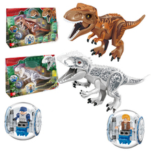 Jurassic World Park Sermoido Building Blocks Dinosaur Dilophosaurus Flee Motorcycle bricks Toys For Children