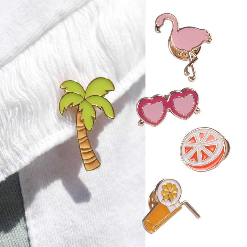 Hot Cool Flamingo Pohon Kelapa Orange Gelas Jus Bros untuk Wanita Pin Anak-anak Tas Lencana