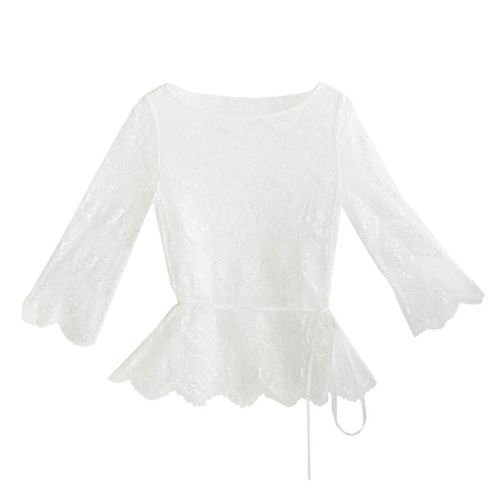 IRINAW619 nieuwe collectie zomer 2018 driekwart mouw vintage witte wimper kant top vrouwen shirt - 5