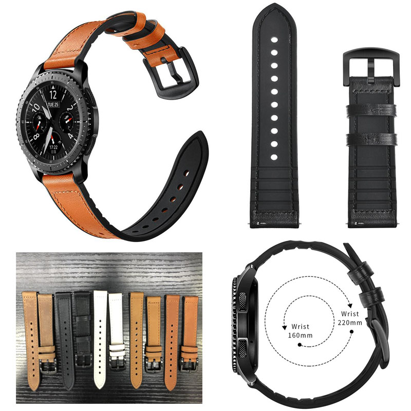 30pcs 22mm watch band Genuine Leather for Samsung Gear S3 Frontier Classic Strap galaxy watch 46mm
