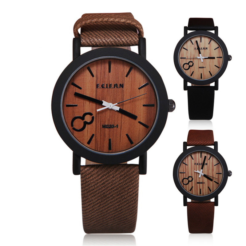 2017 Simulation Wooden Relojes Quartz Women Watch Casual Wooden Color Leather Strap Watch Wood Male Wristwatch Relogio Masculino jubaoli rotatable bezel male watch quartz leather strap wristwatch