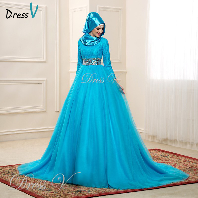 Ice Blue Color Long Sleeves Lace Muslim Wedding Dresses With Hijab 2017 New Ball Gown Crystal Dubai Bridal Gowns Robe De Mariee In From