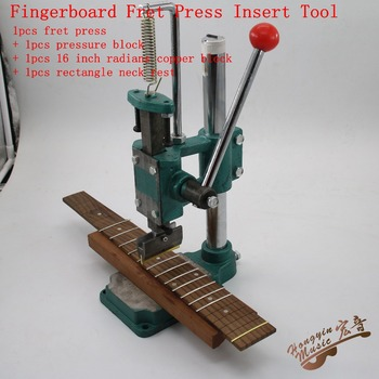 Fingerboard Fret Press Inserts Tool For Guitar Making Tools Set (Pressure Block 16 inch Radius Copper Block Rectangle Neck Rest)