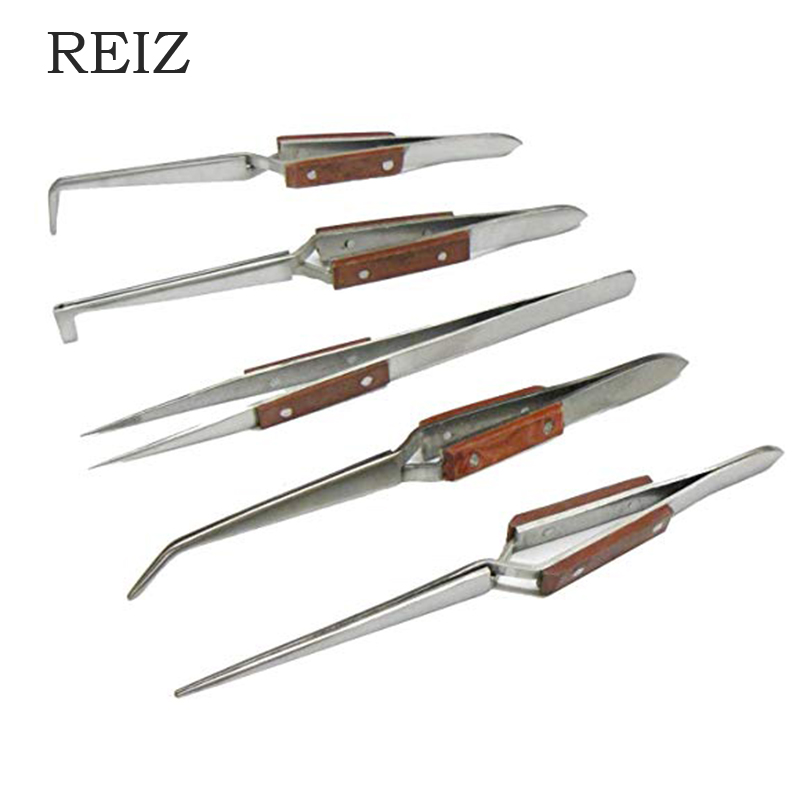 REIZ Tweezers Soldering Fiber Grip Cross Locking Set  Locking Gemstone Tweezer Jewelry Making Tool