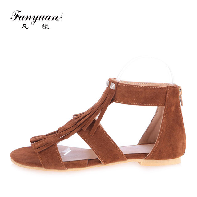 46509e7ae Fanyuan Flat Shoes Women Fringe Ankle Strappy Sandals Ladies Fretwork  Summer Footwear Zipper Gladiator Sandals Brown Beach Shoes