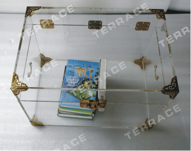 ONELUX Clear Acrylic Storage Chest ,Lucite Trunk Coffee Table  2 Color  Options For The Metal Decor