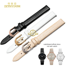 Genuine leather bracelet womens fashion watchband watch strap wristwatches band small 10mm 14mm pink color for