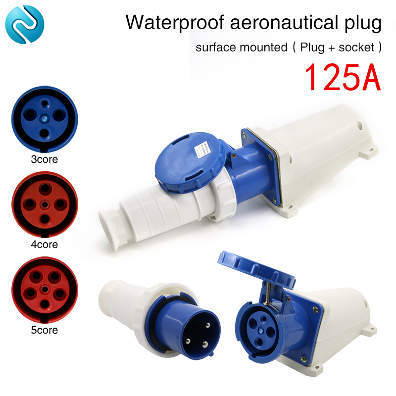 Aviation plug socket industrial waterproof connector 3 core 4 core 5 core 125A surface mounted aviation Plug docking цена