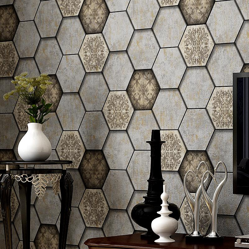 Top Grade American Vintage Nostalgic Honeycomb Industrial Wind PVC Wallpaper Personality Fashion Bar Cafe Background Wall-papersTop Grade American Vintage Nostalgic Honeycomb Industrial Wind PVC Wallpaper Personality Fashion Bar Cafe Background Wall-papers