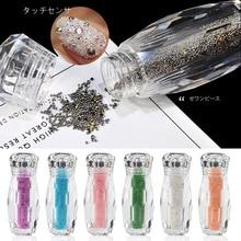 1 бутылка мини-икра бусины Кристалл крошечные стразы стекло микро-шарик для ногтей DIY Красочные 3D Блеск ногтей украшения