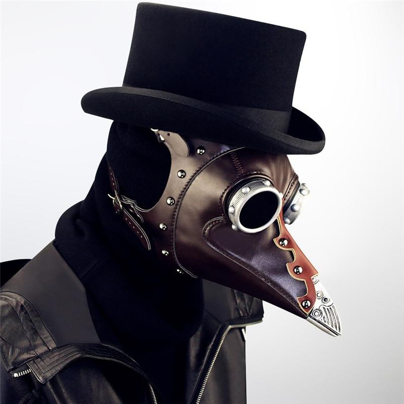 Steampunk Plague Bird Mask Doctor Mask Brown PU Leather Bird Beak Mask Gothic Retro Halloween Cosplay