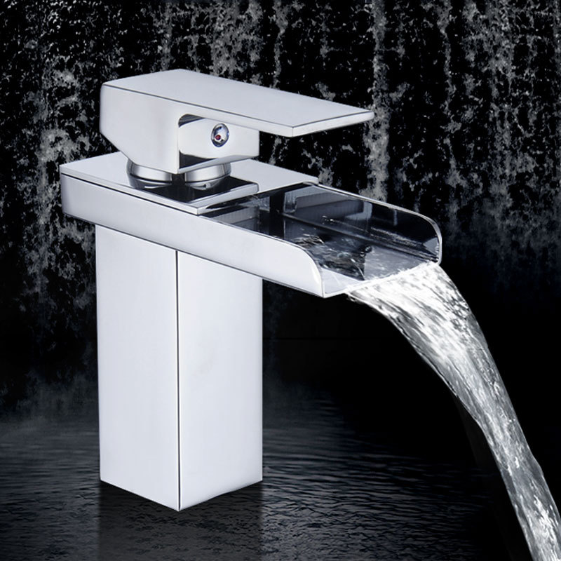 Basin Faucets Square Waterfall Bathroom Faucet Single Handle Basin Mixer Tap Bath Chrome Brass Hot Cold Mixer Taps YD-061 bathroom basin faucets modern chrome finished bathroom faucet single hole cold and hot water tap basin faucet mixer taps