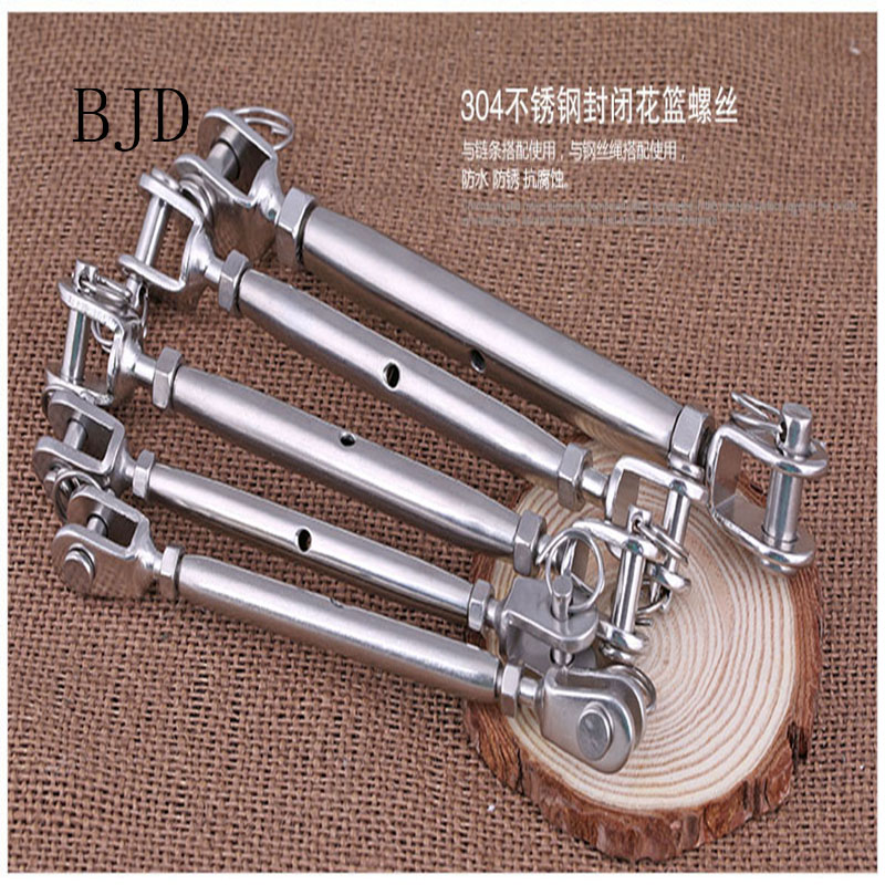 Size: M10 Screw New Hot M5 M6 M8 Stainless Steel Rigging Screw Closed Body Jaw Turnbuckle Fastener Hardware for Boat Yacht