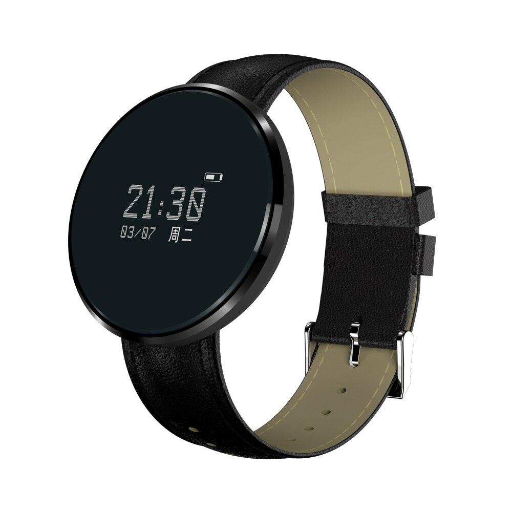 Android IOS Luxury Leather wristband Business man women Round blood pressure sleep monitoring Sport smart Bracelet