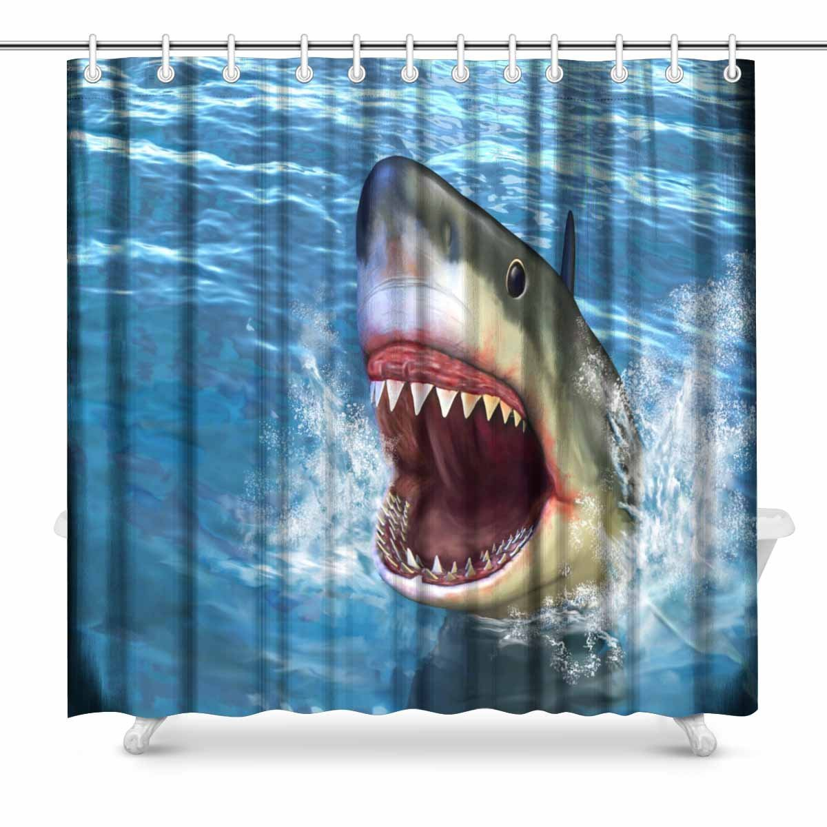 Aplysia great white shark jumping out of water with its open mouth bathroom shower curtain for How do sharks use the bathroom