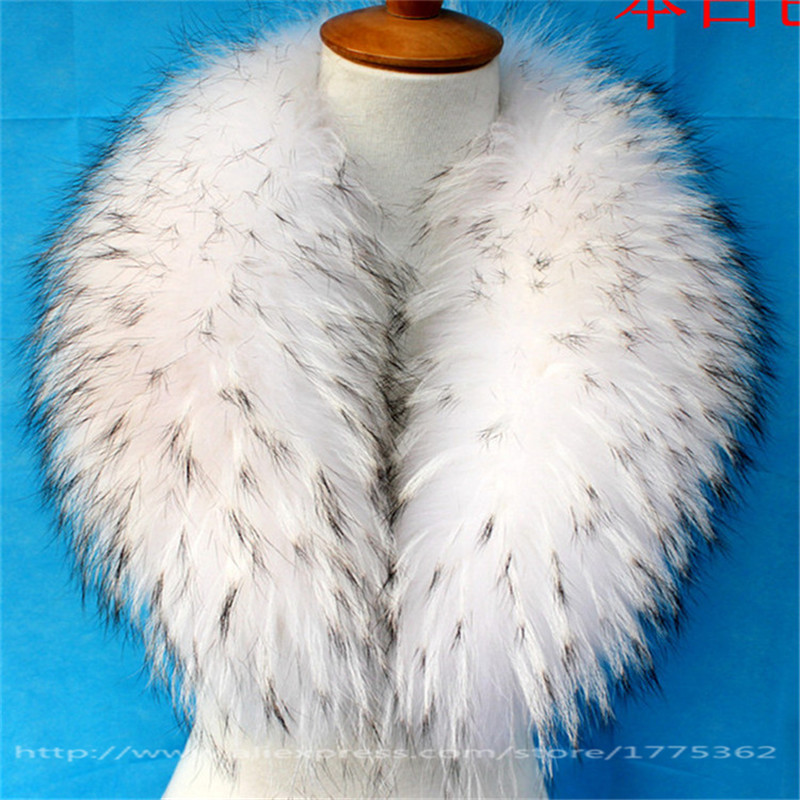 Real Raccoon Fur Collar for Coat Hooded Hat Jacket Autumn Winter Warm Fur Raccoon Scarf Outerwear Coat Removable Fur Collar S#4