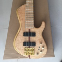 New Arrival Natural Wood Grain Finish Fodera Electric Bass Guitars 6 String Widened Tailpiece For Sale
