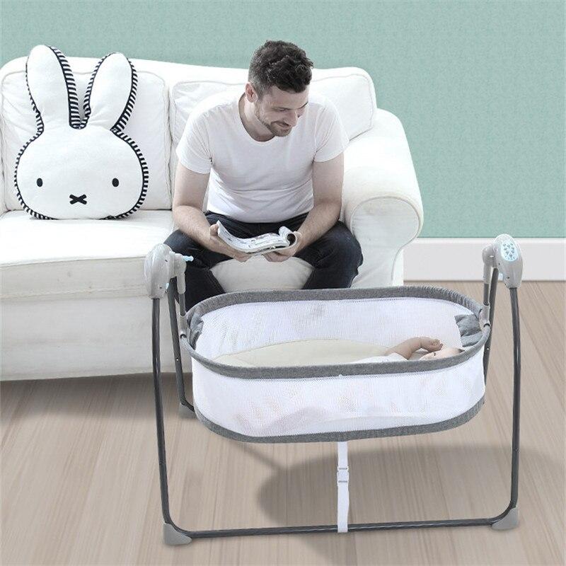 Berceau électrique bébé lit pliable bébé lit avec Bluetooth Portable bébé berceau moustiquaire lit bébé voyage dormeur bébé balançoire